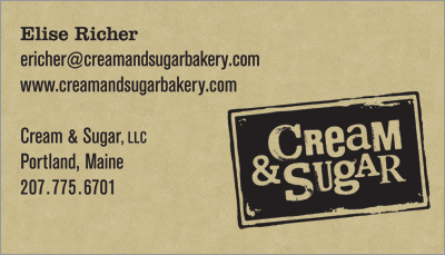 Cream and Sugar business card design